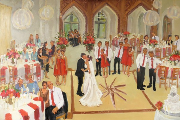Wedding at Aldie Mansion on the Mercer Estate, live event painting by Joan Zylkin The Event Painter