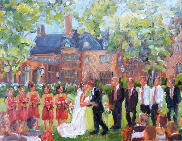 Wedding painting from photos by Joan Zylkin The Event Painter.  Wedding at Aldie Mansion.