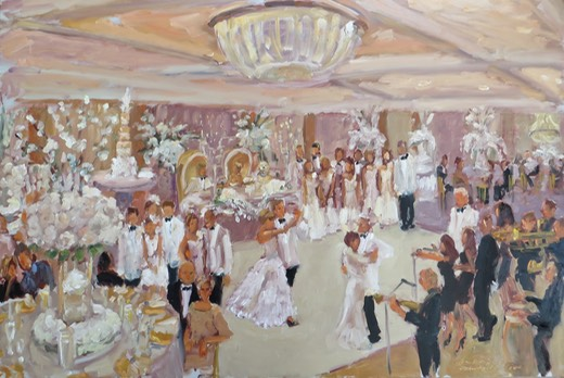 wedding painting live at Lehigh CC - all white wedding by Catherine Gretta with Jimmy Choo and Jelly Roll Band