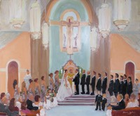 artist paints wedding in church ceremony.  Joan Zylkin The Event Painter