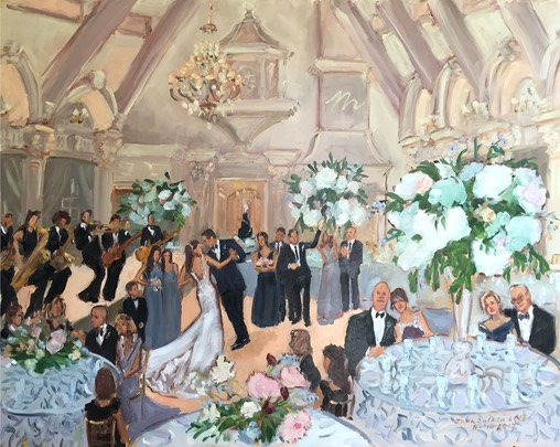 Ashford Estate June Wedding painted live as it was happening by The Event Painter Joan Zylkin.