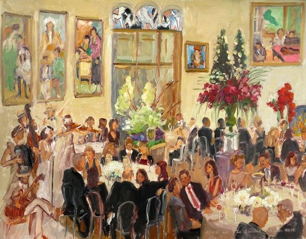 Corporate holiday party at the Barnes Museum painted live as a gift for the CEO.