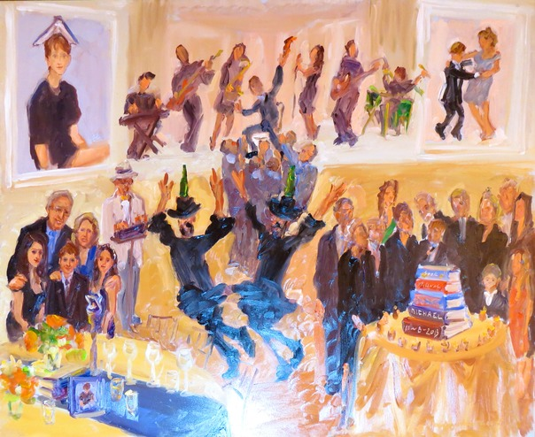 Live event painting at Bar Mitzvahs by Joan Zylkin The Event Painter.