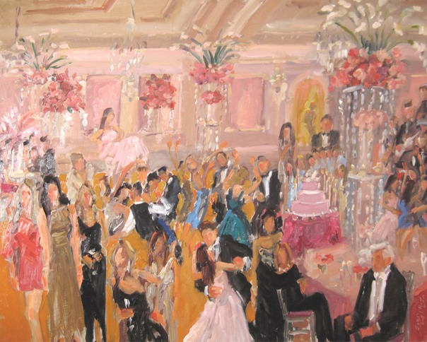live event painting at Bat Mitzvah Long Island, by Joan Zylkin The Event Painter