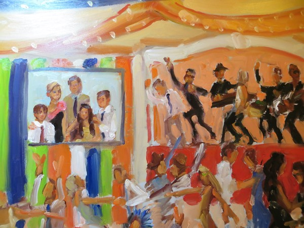 painting of Bar Mitzvah family and band