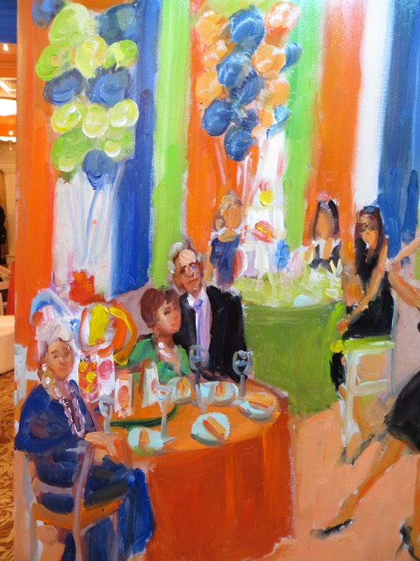 close up of live event painting shows the Bar Mitzvah boy's Grandparents and Great Grand Mother
