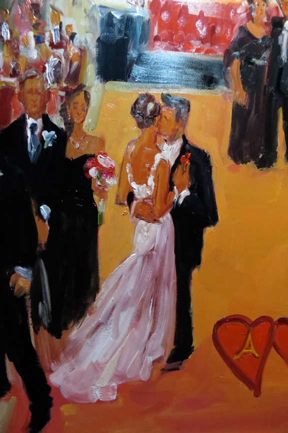 Bride and Groom's first dance:  detail from Casino Wedding painting shows brushwork and paint quality.