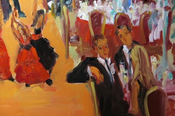 detail from CASINO Wedding Painting: Best Man - shows brushwork of Joan Zylkin The Event Painter
