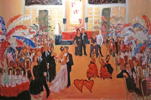 CASINO wedding painting by The Event Painter Joan Zylkin