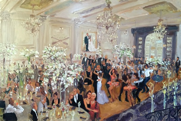 Cescaphe Wedding painted live during the reception by Joan Zylkin The Event Painter.