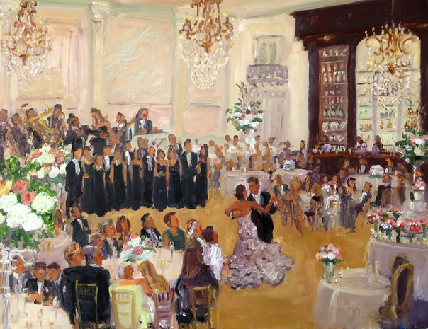 July Wedding painted live at the newly renovated Cescaphe Ballroom in N. Libs, Philadelphia, by Joan Zylkin The Event Painter.