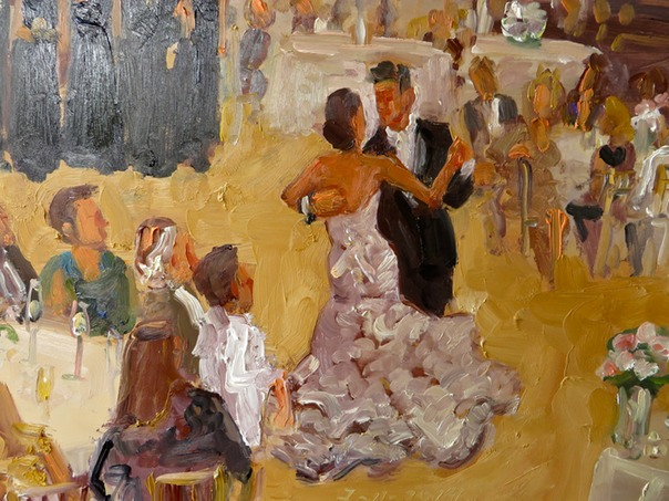 close up of live wedding painting showing some of my brushwork.  Joan Zylkin The Event Painter.