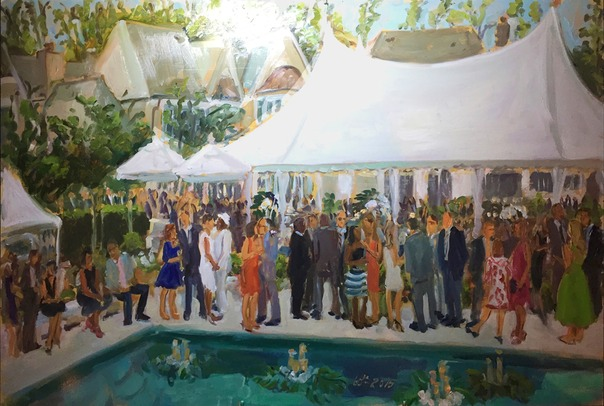 celebrating 60 successful years in business with a glamorous party in DC.  live event painting by The Event Painter Joan Zylkin