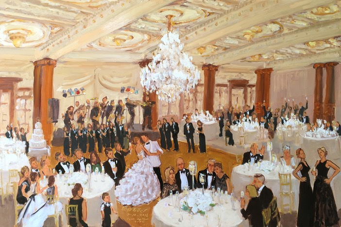 Crystal Tea Room wedding painted live during the reception by live event painter Joan Zylkin
