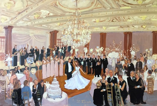 First Dance with sparkers painted live at the Crystal Tea Room in Philadelphia.  The Event Painter Joan Zylkin.
