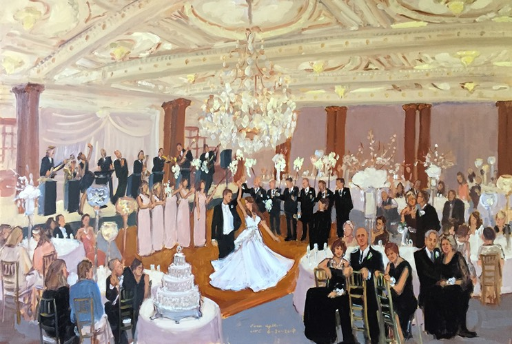 Crystal Tea Room Wedding - first dance with sparklers - painted live by The Event Painter Joan Zylkin