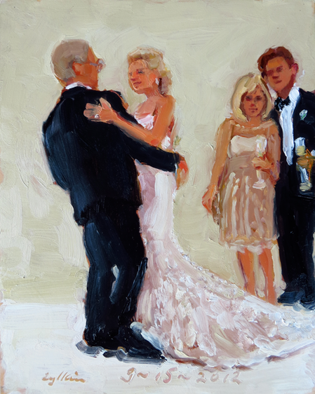 Wedding painting from photographs.  a special gift from Bride to parents.  by Joan Zylkin The Event Painter.