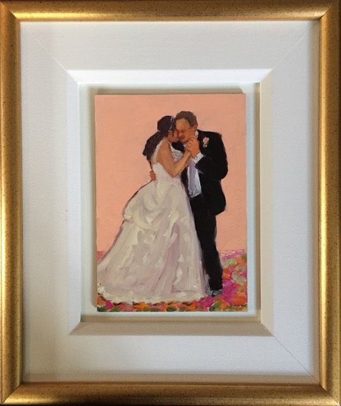Daughter_Father wedding gift framed painting of their dance together.
