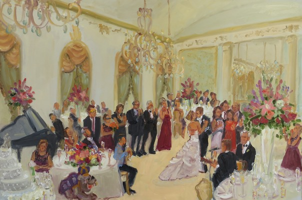 Wedding at the DuPont CC, DE wedding painting captured live, by Joan Zylkin The Event Painter.