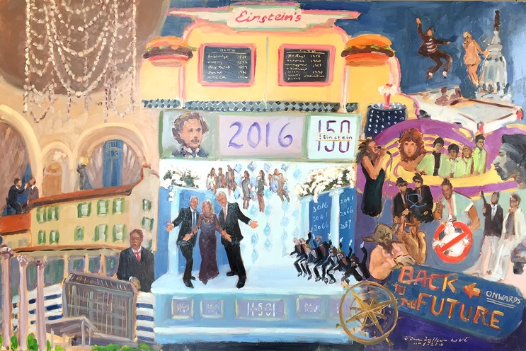 The Einstein Healthcare Network celebrated 150 years since being founded as a not for profit hospital, with a Gala Harvest Ball at the Bellevue in Philadelphia, captured in this live event painting by The Event Painter, Joan Zylkin.