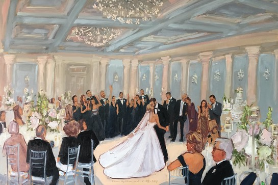 Ellis Preserve Wedding live event painting by The Event Painter, Joan Zylkin