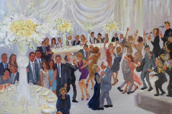 live event painting at 50th Wedding Anniversary is a meaninful gift for parents who think they don't need anything.