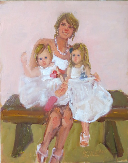 special gifts from Bride:  an oil painting of the flower girls by Joan Zylkin The Event Painter.