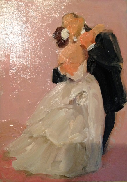 First Dance, painted from photograph as gift from bride to father, by Joan Zylkin The Event Painter.