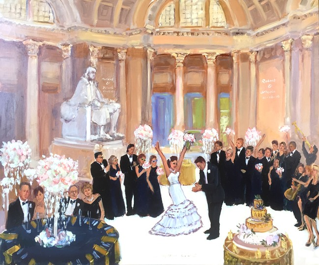 Franklin Institute Wedding Live Event Painting, by The Event Painter Joan Zylkin.