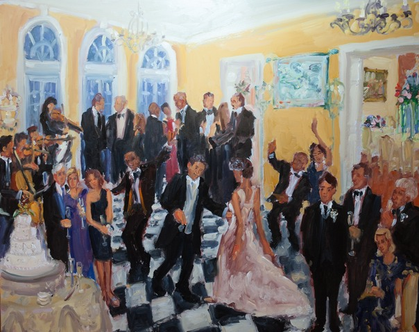 DE wedding at du Pont Brantwyn Estate, captured live in an oil painting by Joan Zylkin The Event Painter.