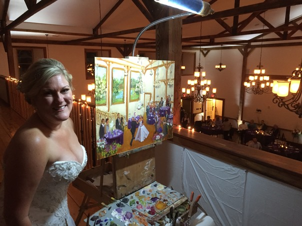 Gettysburg Bride with her live event wedding painting byJoan Zylkin The Event Painter.
