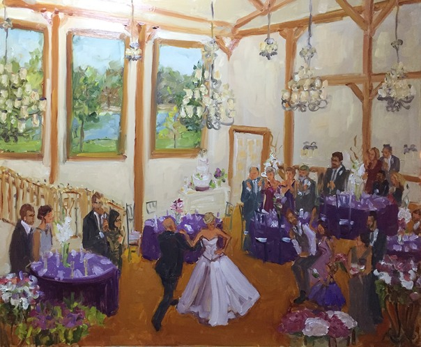 Live event artist paints wedding in Gettysburg PA.  Joan Zylkin The Event Painter.