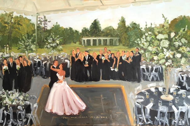 Greystone Hall Wedding painting by live event painter Joan Zylkin.
