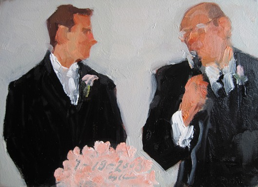 Groom's gift: a painting by Joan Zylkin The Event Painter.