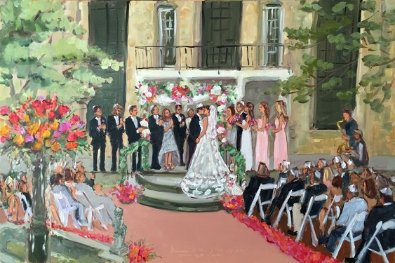 Holly Hedge Wedding Reception in the courtyard painted live by The Event Painter, Joan Zylkin.