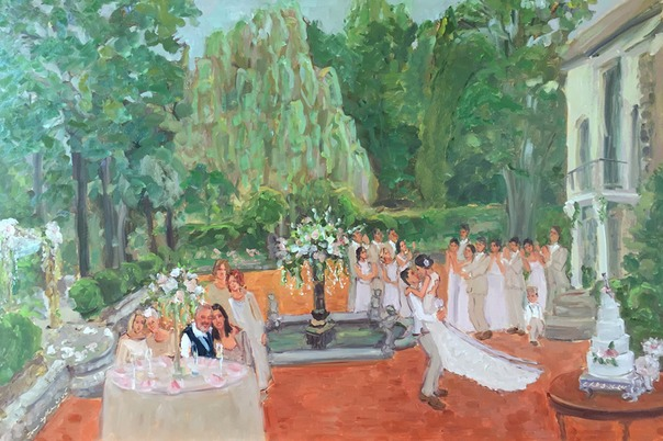 Live event painting at Holly Hedge Estate Wedding by Joan Zylkin The Event Painter.