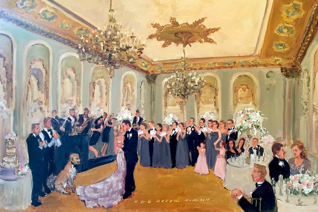 Hotel du Pont wedding painting live by The Event Painter Joan Zylkin.