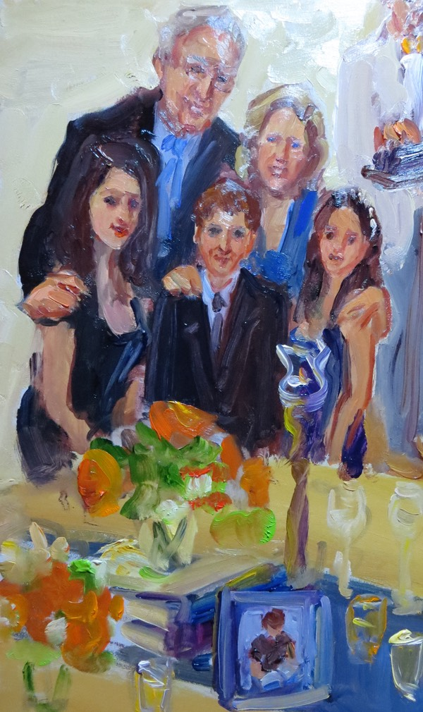 live event artist paints at Bar Mitzvah.  Joan Zylkin The Event Painter.
