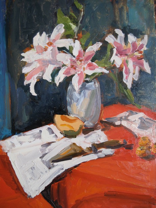 Still Life oil painting,lilies, reds, dark blues, painterly, strong brush strokes, by Joan Zylkin The Event Painter