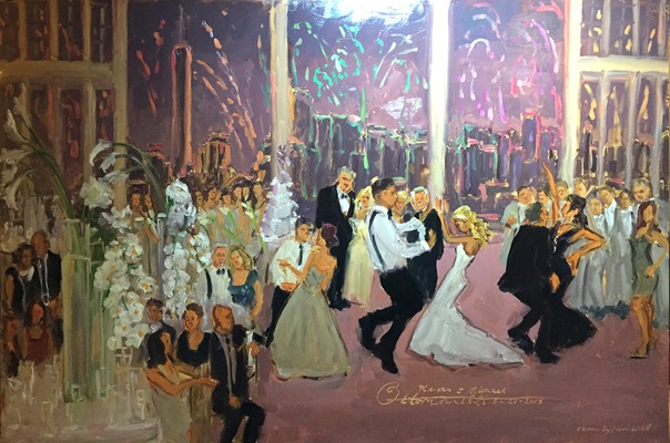 Manhattan Wedding Painting.  Jersey City Wedding, Liberty House with fireworks by Joan Zylkin The Event Painter.