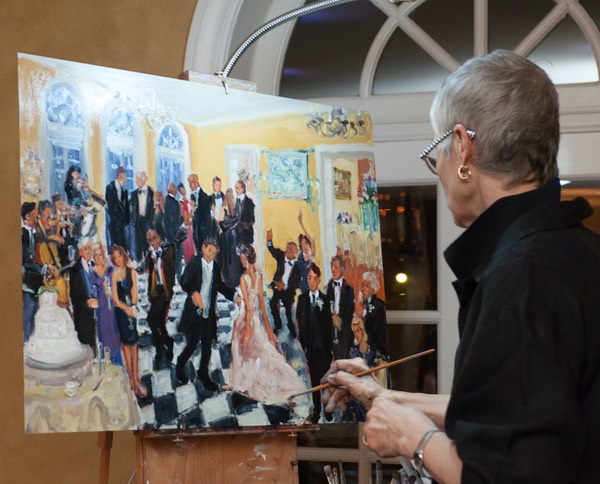 Live Event Artist Joan Zylkinpainting live at a Wedding at the du Pont Brantwyn Estate in Delaware