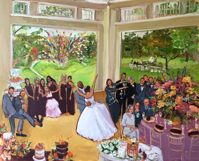 Beautiful Fall Wedding in the Lehigh Valley, painted live as Parent's gift to Bride and Groom.