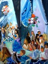 NJ Bat Mitzvah painted live: detail, lighting the candles