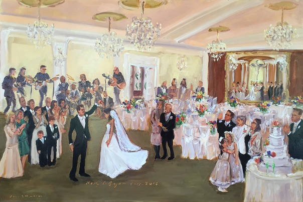 Live Wedding Painting, Lehigh Valley by Joan Zylkin The Event Painter. Blue Grill Room, Bethlehem, PA,