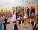 Live event painting at a wedding at the White Hall in Louisville, KY by Joan Zylkin The Event Painter.