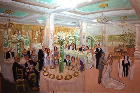 Mallard Yacht Club wedding painted live by The Event Painter Joan Zylkin.