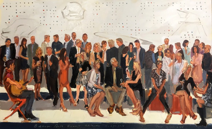 Make your client party unforgettable, the one they turn out for  talk about. Invite them to see live event painter Joan Zylkin create a work of art with a lot of them in it.