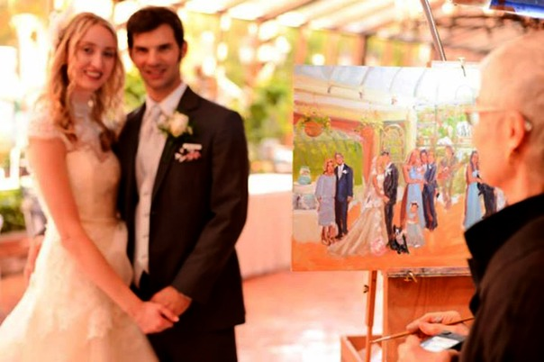 joan zylkin painting live at a wedding in New Jersey...  The Event Painter.