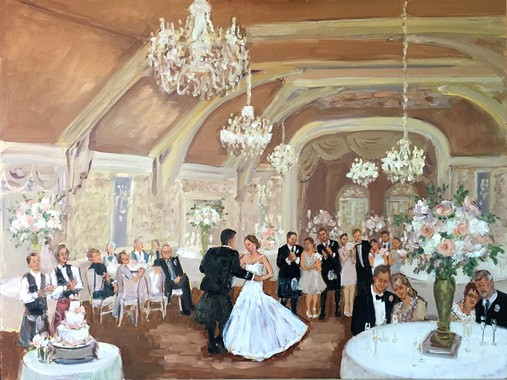 Merion Cricket Club Wedding live event painting by The Event Painter Joan Zylkin.