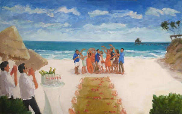 Mexico Wedding on the beach in Cancun, painted in oils from photographs by Joan Zylkin The Event Painter, aka the groom's mom